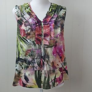 Etcetera Pleated Ruffle Tropical Floral Tank Top